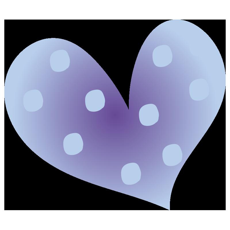 青色の水玉ハート