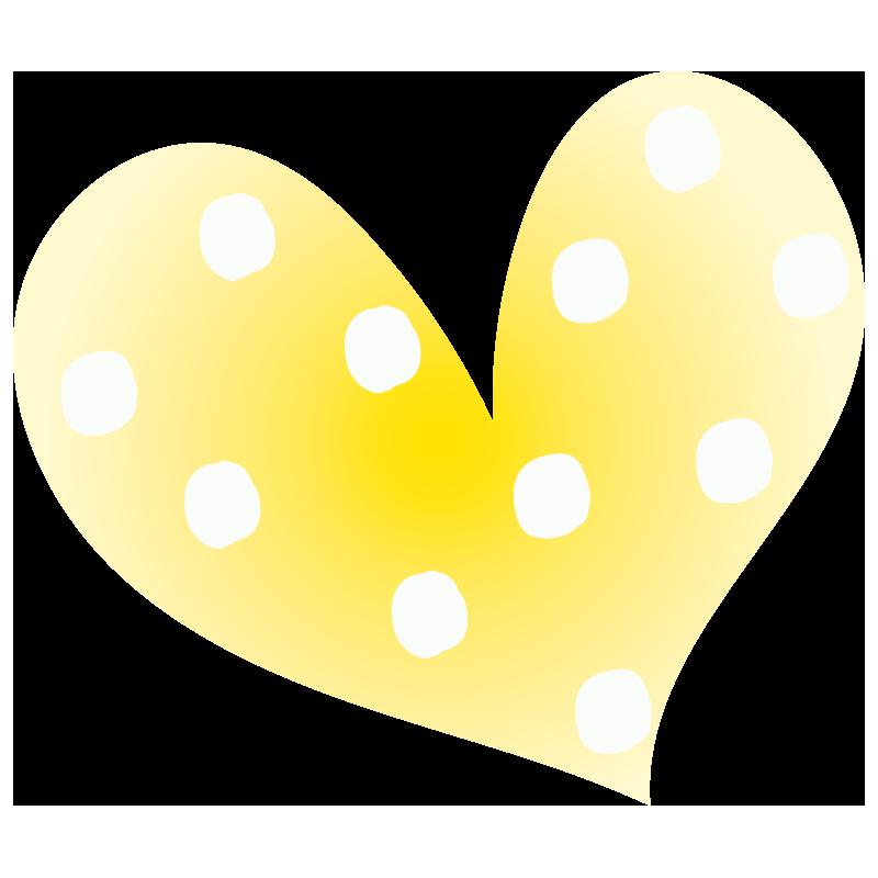黄色の水玉ハート