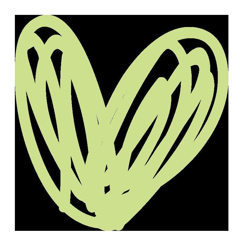 緑色のぐるぐるハート