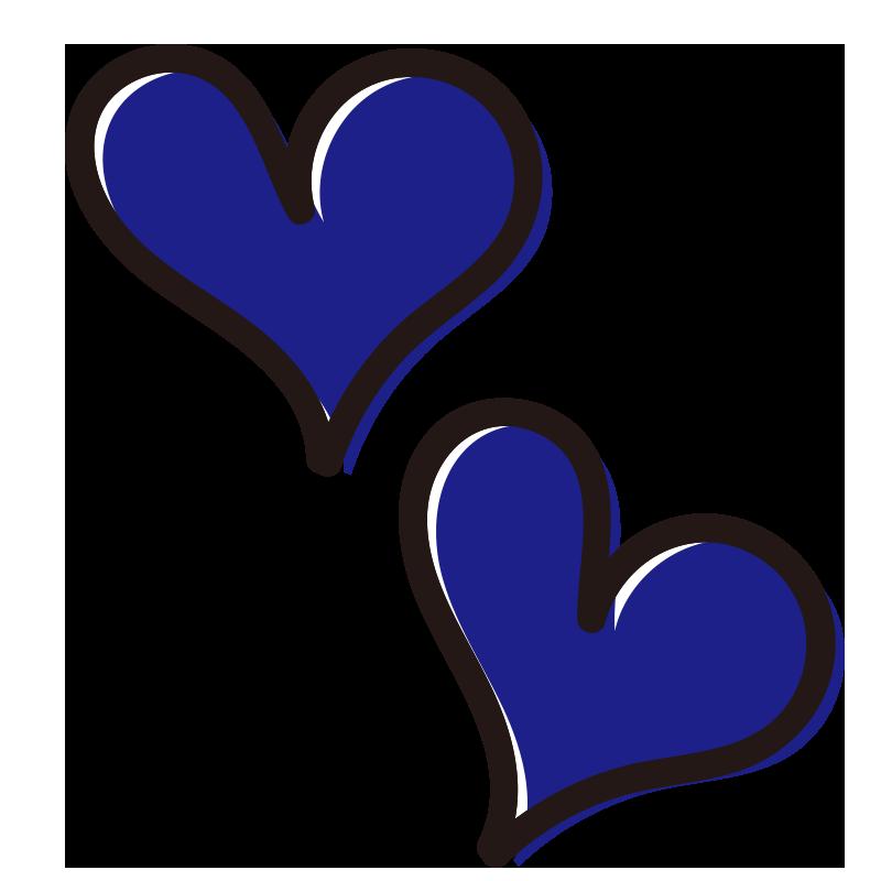 青い2つのハート