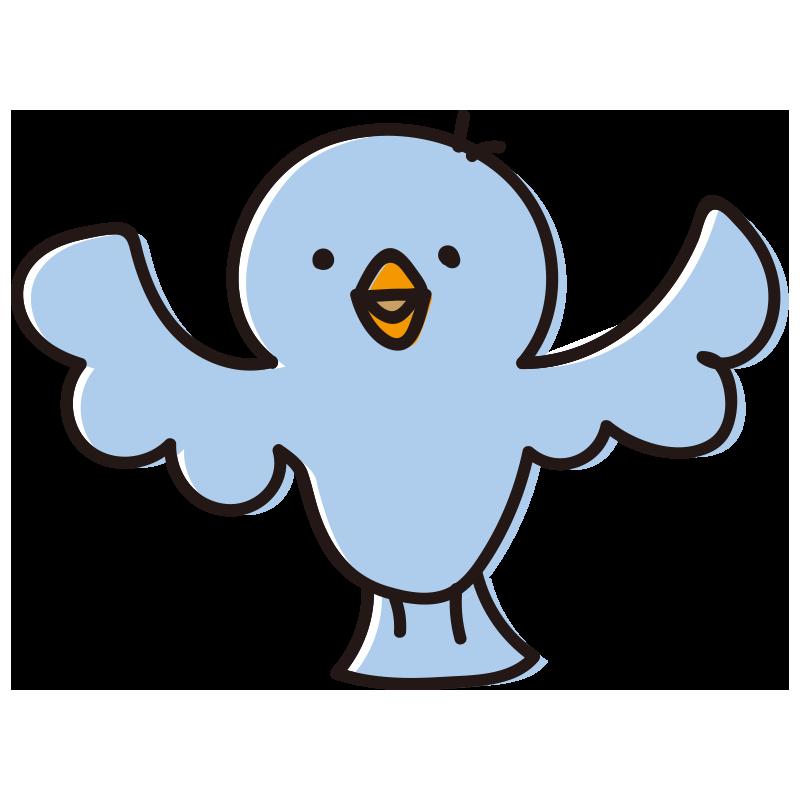 青色の広げた鳥