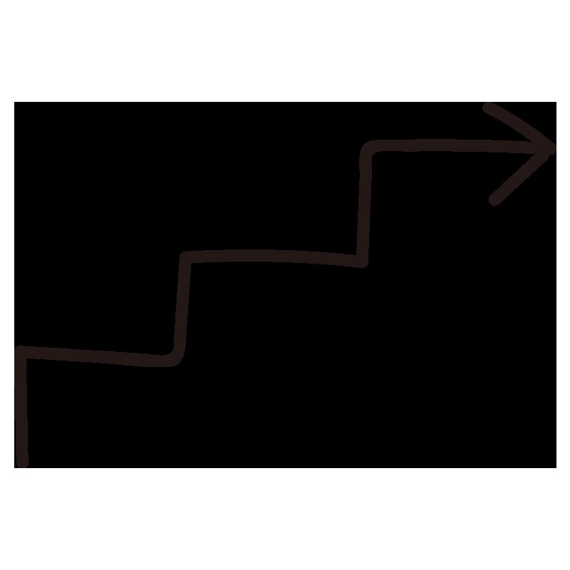 階段状の矢印