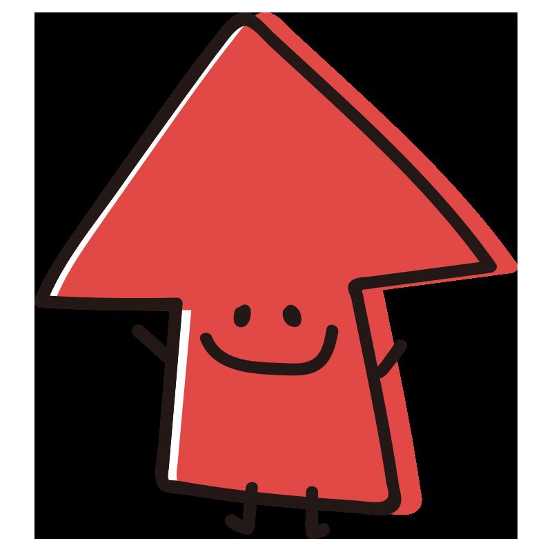 顔のある矢印 ばんざい赤