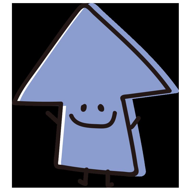 顔のある矢印 ばんざい青