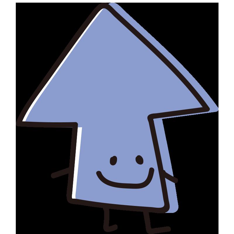 顔のある矢印 横向き青