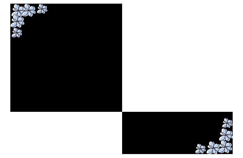 青い小花の枠