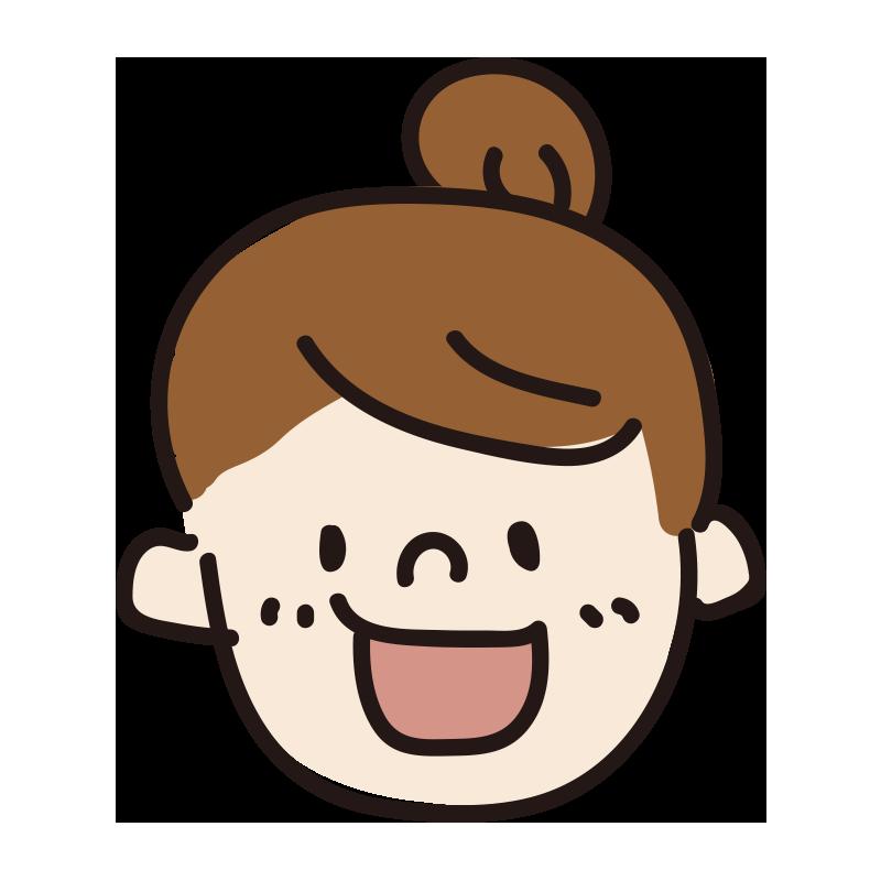 笑う女の人(お団子)