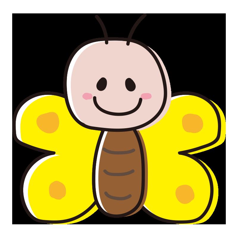 顔のある黄色い蝶