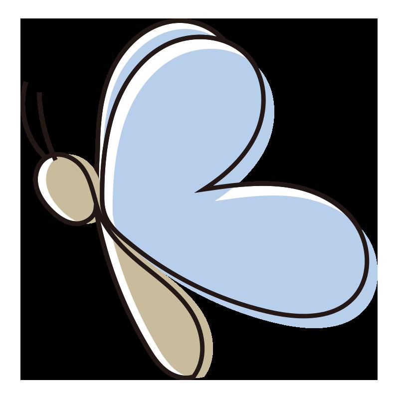 シンプルな青い蝶