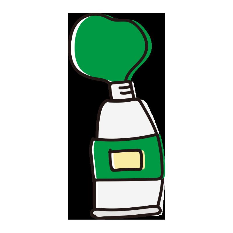 絞りだした緑色の絵具