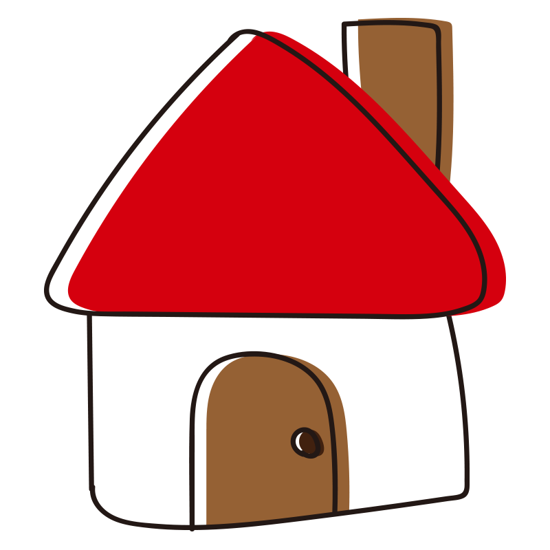 煙突のある赤い屋根の家