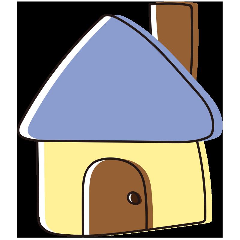 煙突のある青い屋根の家