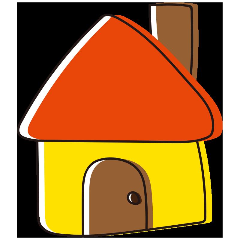 煙突のあるオレンジの屋根の家