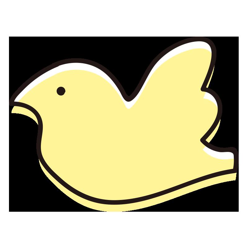 シンプルな横向きの鳥黄色