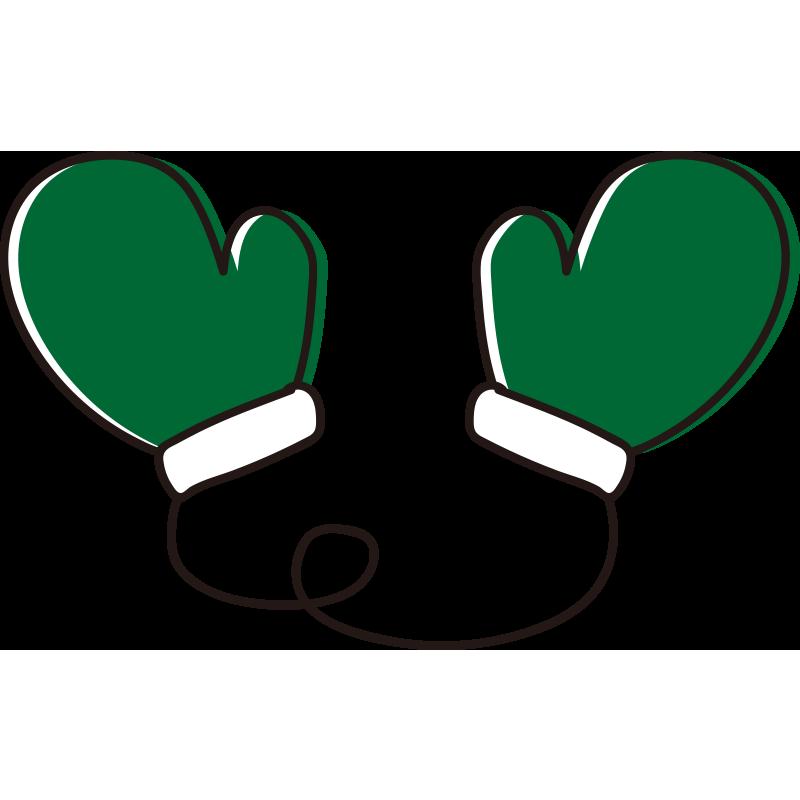 ひも付き手袋緑