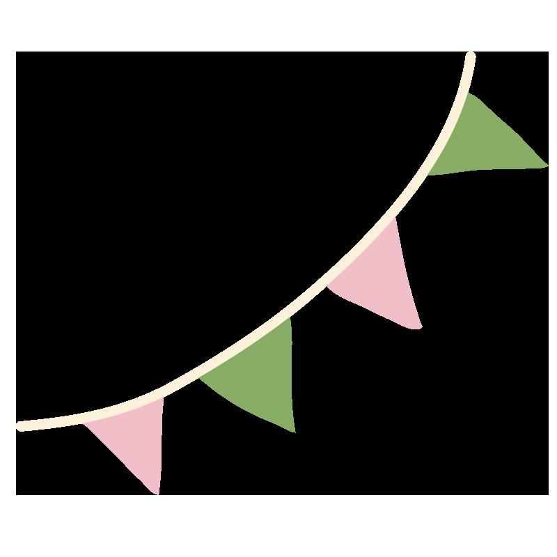 緑とピンクのガーランド