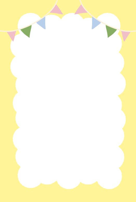 ふわふわの枠とガーランド黄色(はがき縦)
