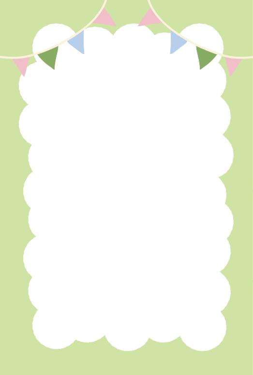 ふわふわの枠とガーランド緑(はがき縦)