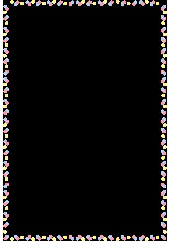 カラフルな水玉の枠(A4縦)