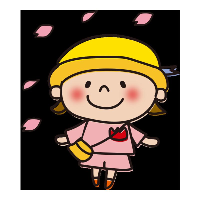 花びらと園児(女の子)