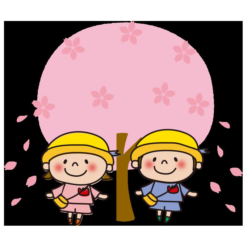 桜の木と園児