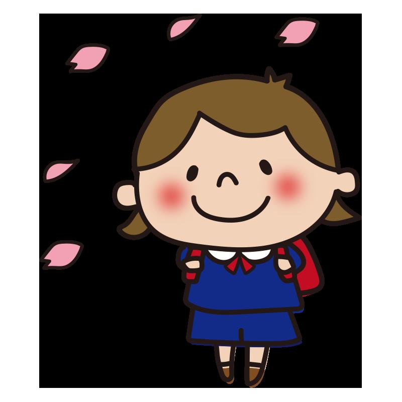 花びらと小学生(女の子)