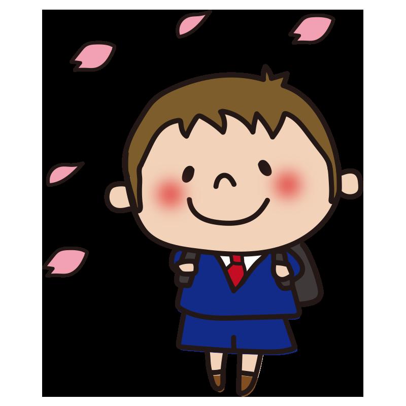 花びらと小学生(男の子)