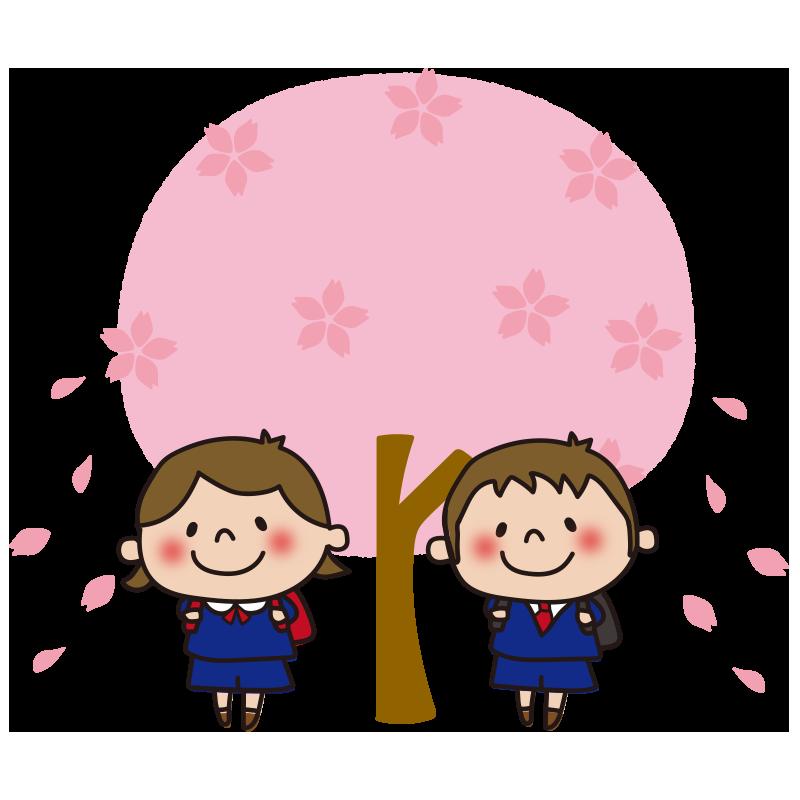 桜の木と小学生