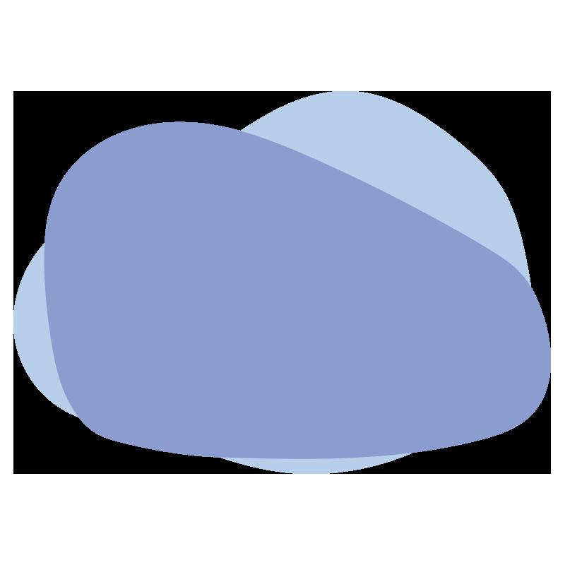 重なったいびつな丸(水色)