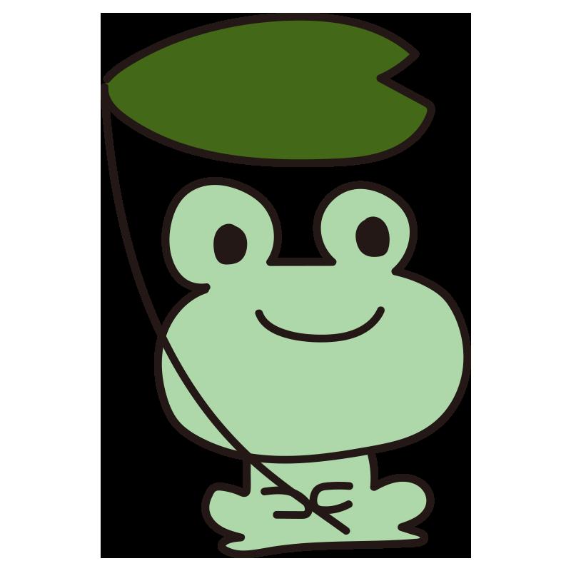 葉っぱを持つカエル