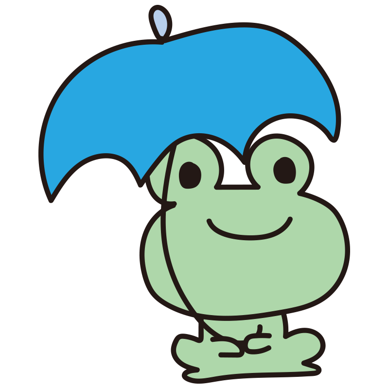青い傘を持つカエル