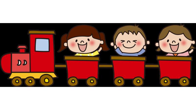 子供を乗せた赤い汽車
