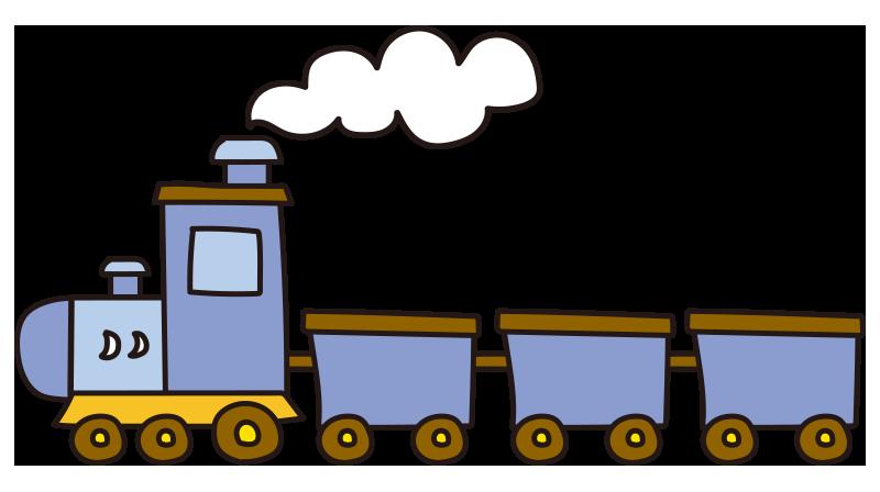 煙を出す青い汽車