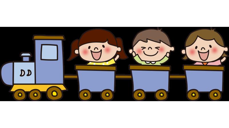 子供を乗せた青い汽車