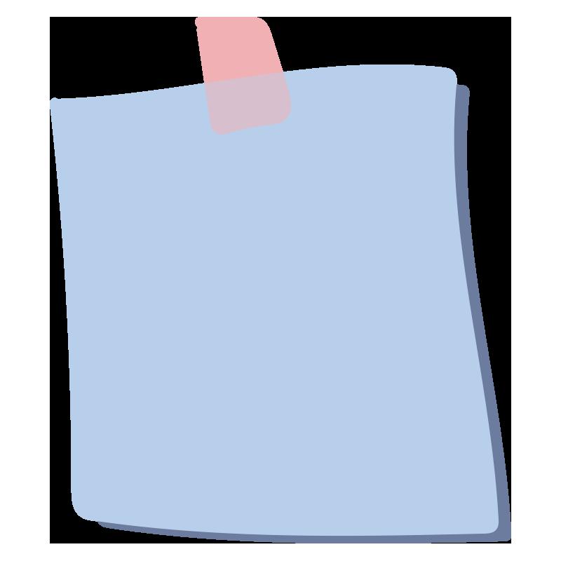 テープでとめたメモ1(水色)