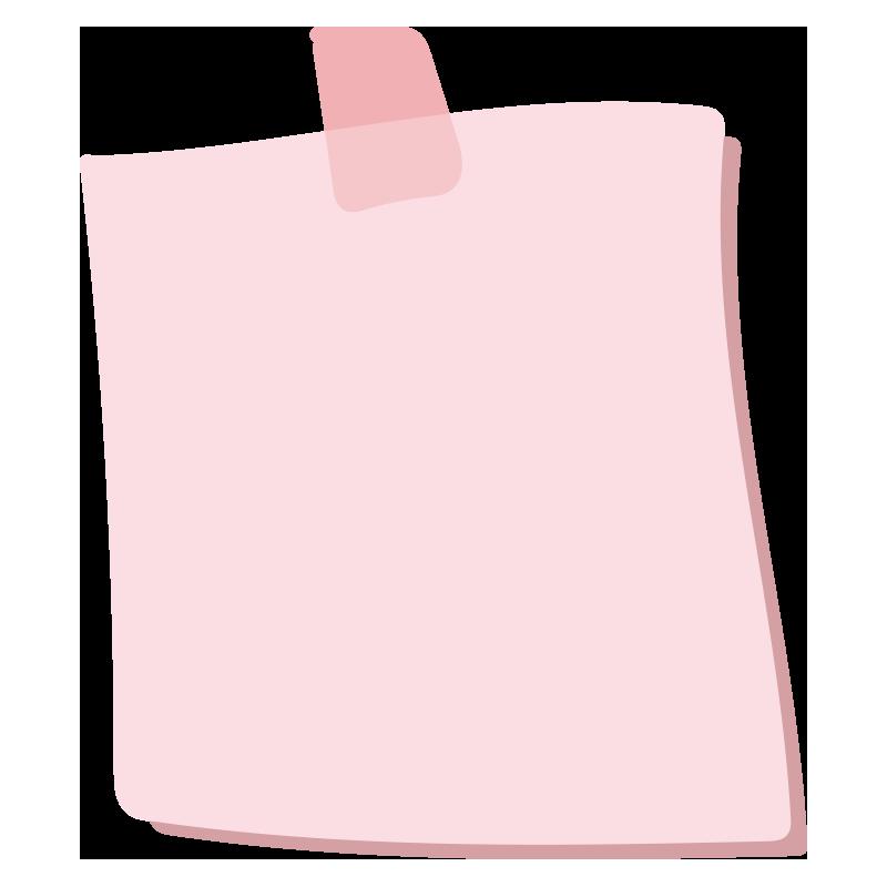 テープでとめたメモ1(ピンク)