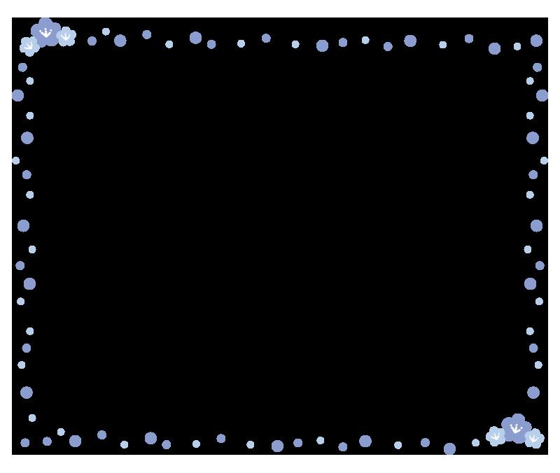 桃の花の枠1(青)