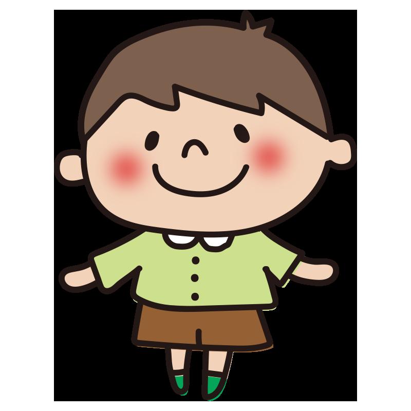 緑の服の男の子