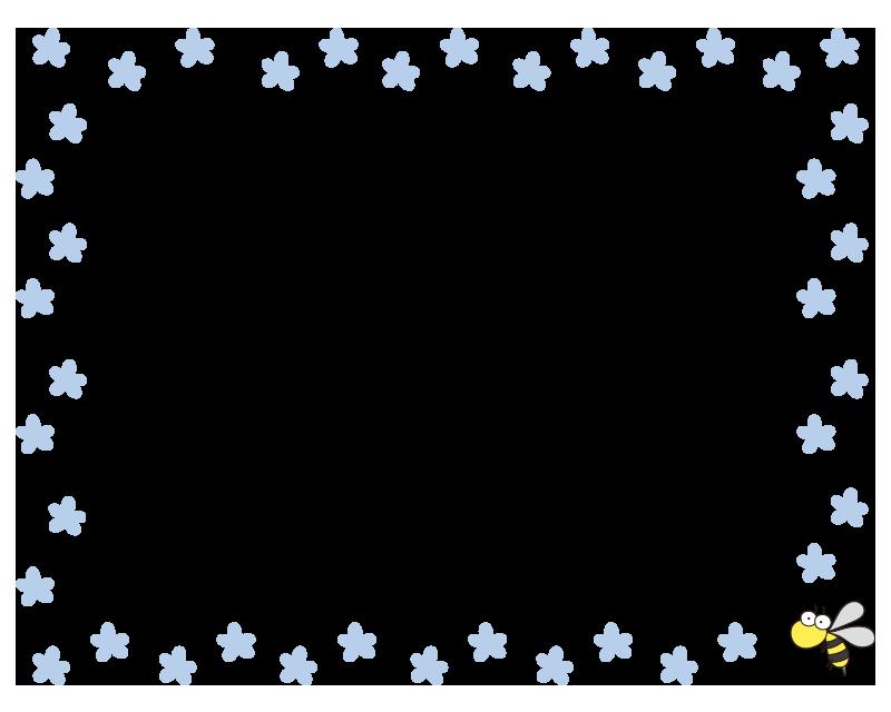 青い花と蜂の枠