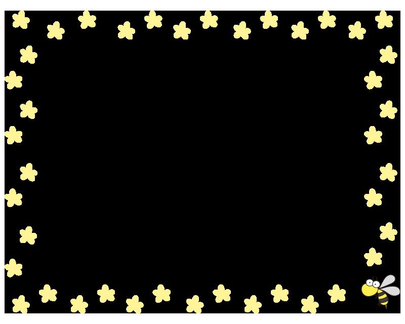 黄色い花と蜂の枠