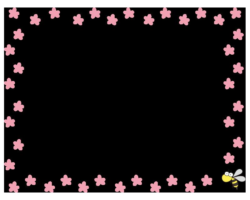 ピンクの花と蜂の枠