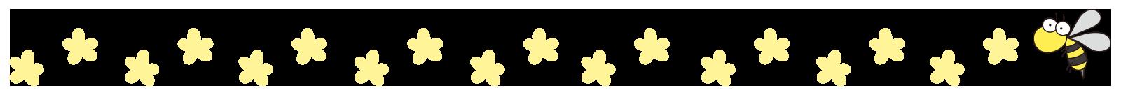 黄色い花と蜂のライン