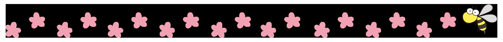 ピンクの花と蜂のライン