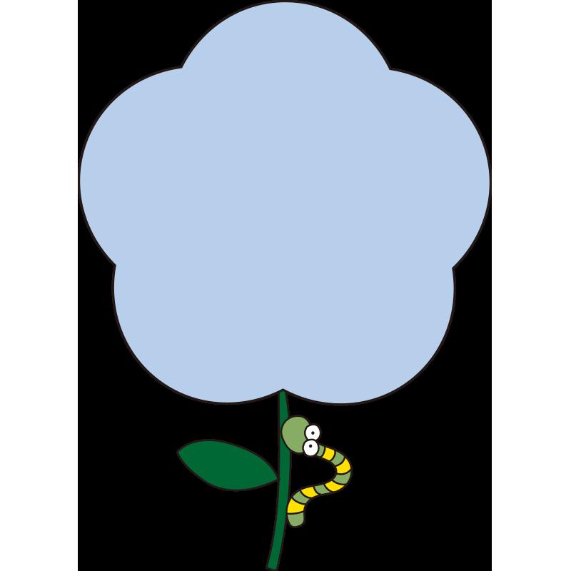 青いお花と青虫の枠