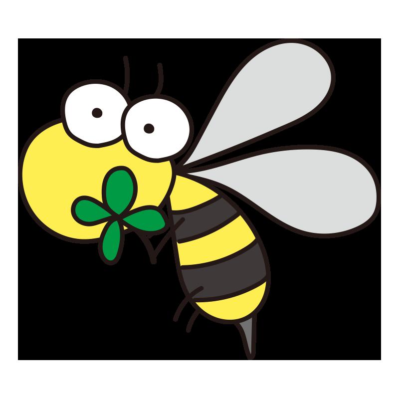 クローバーを持った蜂
