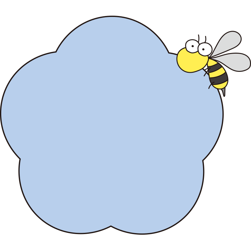 青いお花と蜂の枠