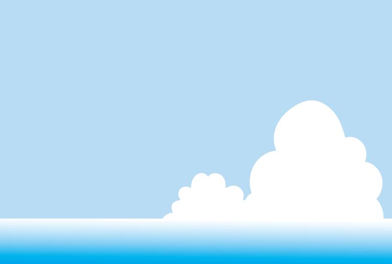 海と入道雲のフレーム(はがき横)