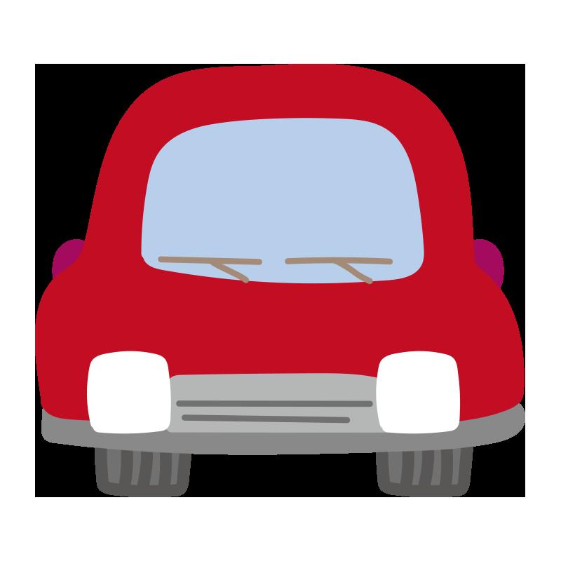正面の車(赤)