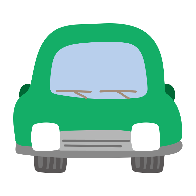 正面の車(緑)