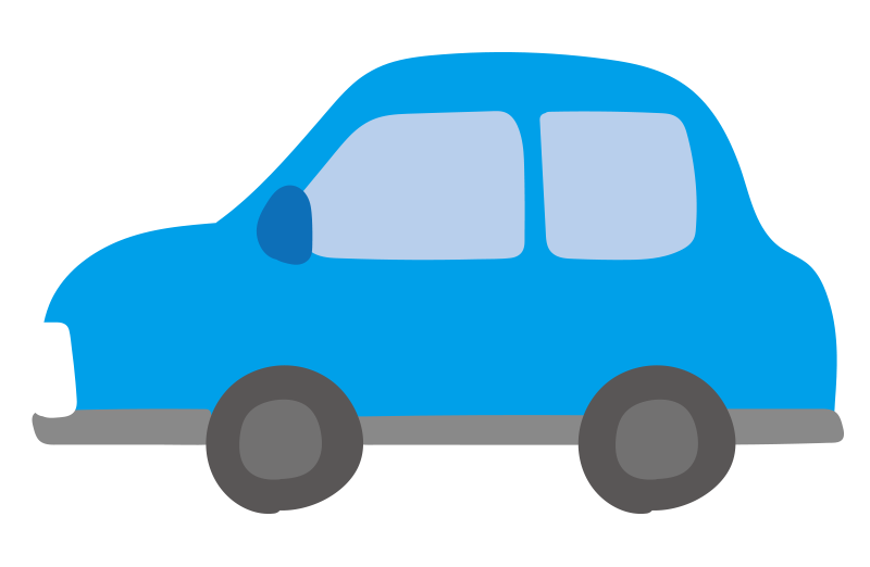 横向きの車(青)
